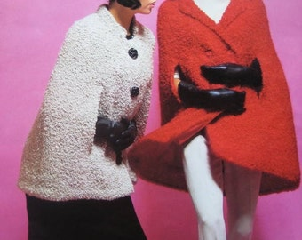 1960's Vintage Knitting Patterns Women's Capes and Hat PDF Pattern 1798-119, 1802-119