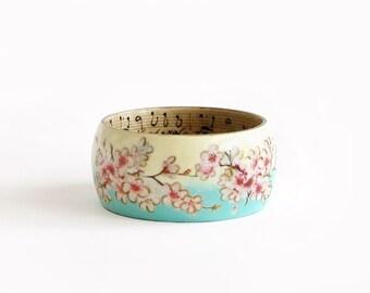 Cherry Blossom Wood Bracelet Sakura Flowers Bracelet Wood Bangle Painted Decoupage Bracelet Large Size Bracelet Sakura Jewelry
