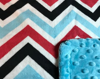 Minky Blanket Red, Black, and Turquoise Chevron Minky with Turquoise Dimple Dot Minky Backing - Perfect Size a Toddler or Child