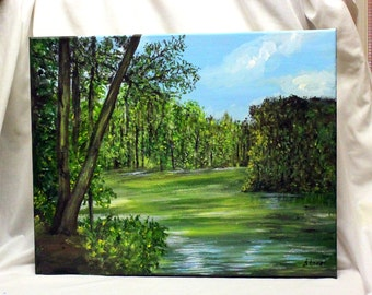 """LANDSCAPE Painting, original and acrylic painting,16"""" x 20"""" stretched canvas,.acrylic art, canvas art, office art, wall art, wall decor,"""