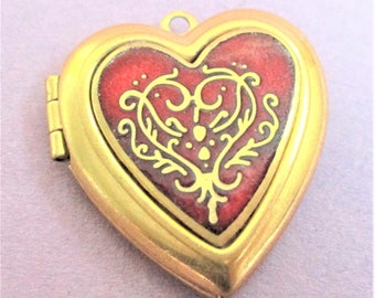 MMA Heart Locket Red Cloisonne Gold Heart Necklace Pendant Locket from the Met 1984 Metropolitan Museum of Art Collection Pendant
