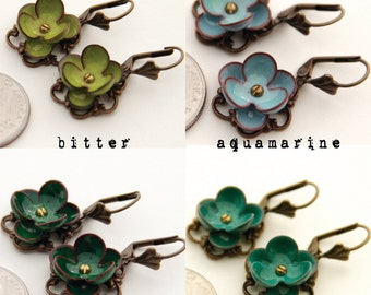 Beautiful Torch Fired Glass Enamel Flower Earrings