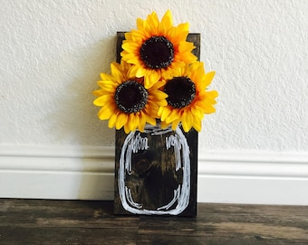 Small Faux Vase with Sunflowers
