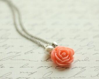 Coral Rose Necklace - Bridesmaid Necklace - Coral Flowergirl Necklace - Coral Wedding - Vintage Wedding - Coral Rose Necklace
