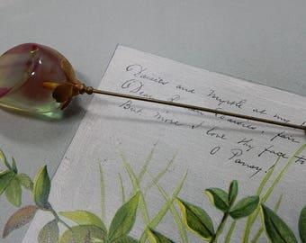 Chunky Iridescent Applejuice Bakelite  Hatpin  Hat or Scarf Stick Pin   ODB39