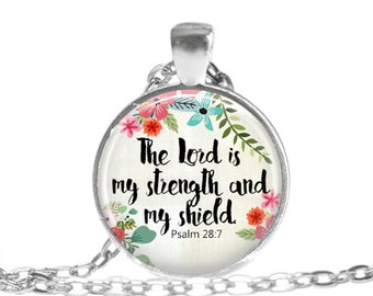 Bible Verse Necklace Psalm 28 7 Scripture necklace Christian gift Healing Jewelry Faith Jewelry Bible Verse Keychain Religous Gift for her