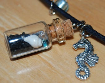 Mini Beach in a Bottle Necklace, Black Sand and Shells, Seahorse Charm