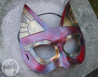 Red Rust and Old Gold Bastet Egyptian Cat leather costume mask