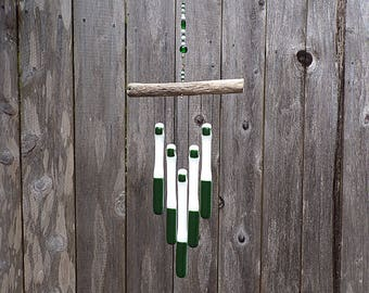 Green and White Wind Chime, Green Windchime, Green Glass Wind Chime, Glass Chimes, Oregon Driftwood