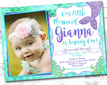 Mermaid Birthday Invitation, Purple, Teal, Green, Glitter, Mermaid Tail, Birthday Party Invite, Printable Digital File