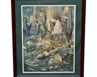Vintage 1949 Framed George Grosz Manhattan Harbor Print