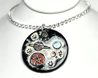 Planets Sparkle Surly Necklace with Swarovski Crystals