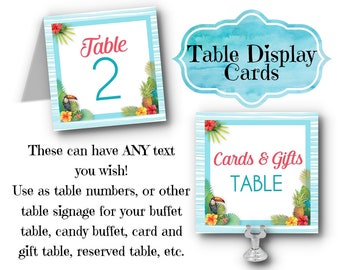 Table Number Cards, Hawaiian, Tropical, Hibiscus Flowers, Pineapple, Luau, Pool Party, Summer, Bridal, Baby Shower, Beach Wedding, Birthday