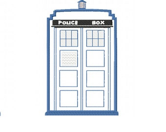 It's Bigger on the Inside - Applique TARDIS - Machine Embroidery Design in 3 sizes - Instant Download