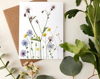 Wildflowers Greeting Card | Watercolor Botanical Artwork