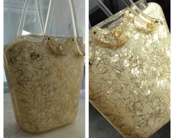 ORIGINAL GILLI GOLD Confetti Lucite Purse 1940/50s