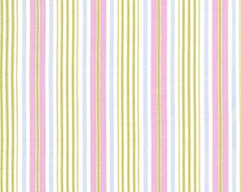 1 Yard Tanya Whelan Fabric / Delilah Collection / Stripe in Green with Blue, Pink Cotton Quilting Fabric