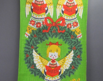 Vintage ANGELS CHRISTMAS Tea TOWEL Linen Dish Towel The Ryans Designer