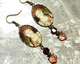 Earrings, Victorian style, glass cabochon, so cameo