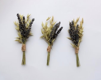 Dried Lavender & Oats Buttonhole Trio, boutonniere, rustic wedding, grooms buttonhole, country wedding, natural wedding