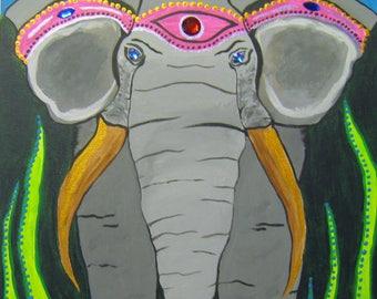 The Elephant Jewel Mixed Media Acrylic Painting