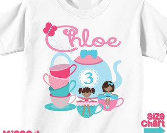 Personalized African American Tea Party T-shirt Bodysuit Girl Tea Party Birthday Party Shirt Tea Party Favors Pink Blue Little Girl Toddler
