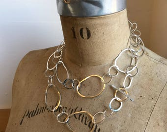 Sterling silver handmade linked chain