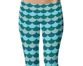 Blue Mermaid Leggings, Mermaid Tights Women, Ocean Blue Scale Yoga Pants, Yoga Leggings, Fish Scale Leggings, Dragon Scale Pants