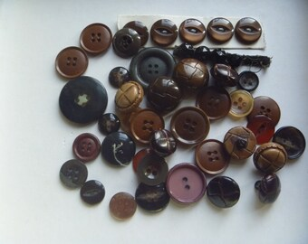 brown and neutral buttons, 44 buttons for crafts