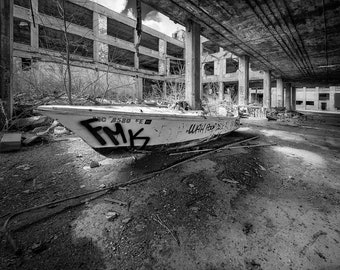 Gone Fishing Fine Art Photographic Print, abandoned Detroit