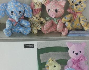 Plush Elephant Pig Cat Giraffe Pattern Simplicity 2613 Pattern Two Piece Cotton,Low Pile Plush Elaine Heigl Designs