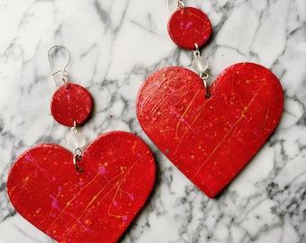 XL Rebel Heart Handpainted Ceramic Statement Chandelier Earrings Cute Heart-shaped Kawaii Pinup Retro