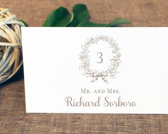 Printed Classic Wreath Wedding Place Cards, Tented Wedding Place Cards