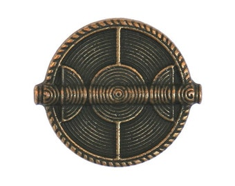 6 Wicker Shield 3/4 inch ( 19 mm ) Metal Buttons Brass Color