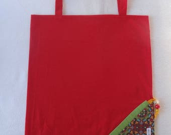 Tote Bag / eco-friendly tote bag / pouch - red and multicolored foldable bag