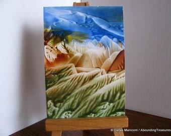 ACEO Blue Skies - Encaustic Wax Original Art - Blue, Rust Brown, Green. SFA (Small Format Art)