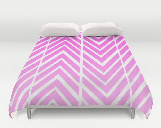 Pink Duvet Cover -  Bed Spread - Duvet Cover Only - Bedding - Pink Arrows ZigZags - Made to Order