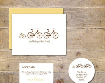 Pregnancy Announcement Cards Bicycle Baby Announcements New