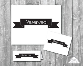 Black Banner Reserved Signs, Reserved Seating Signs, Wedding Signs, Printable PDF, Printable Reserved Sign, Reserved Tent Cards, Saved Seats