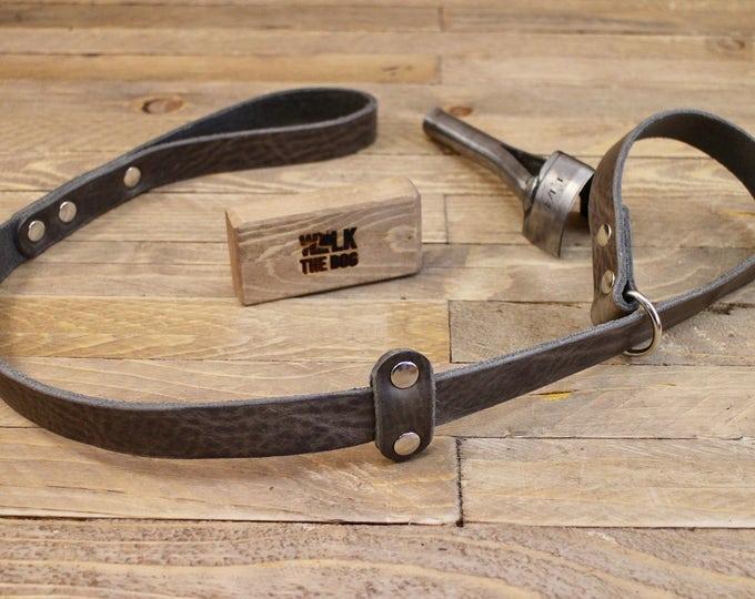 Slip lead, Leather leash, Grey slip lead, Collar and lead in one, Dog slip lead, Dog gift, Pet accessories, Lead, Leather leash, Black lead