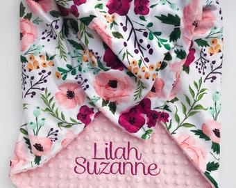 Monogrammed Baby Blanket - Personalized Minky Blanket - Minky Blanket - Baby Blanket with Name - Floral Baby Blanket - Newborn Baby Gift