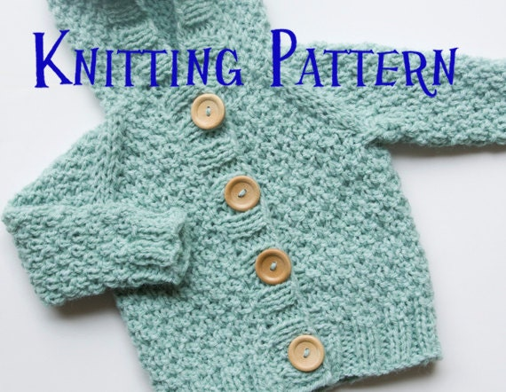 Pdf Knitting Pattern Hooded Cardigan Infant Sweater Baby