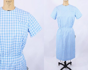 """ANNIVERSARY SALE // 1960s gingham dress   blue gingham New With Tags fitted dress   vintage 60s dress   W 27""""+"""