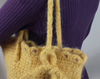 C106 yellow crocheted felted wool purse with adjustable straps