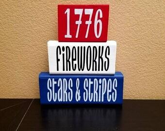 Fourth of July Wood Blocks - 4th of July Wood Blocks - Fourth of July Decor - 4th of July Decor - Wood Blocks - Patriotic Decor