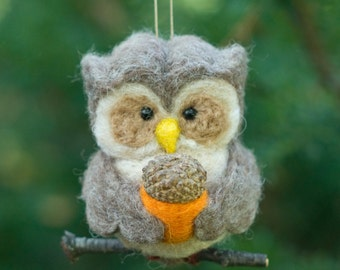 Needle Felted Owl Ornament - Holding Felted Acorn