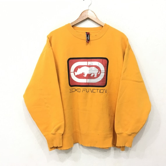 Rare!! ECKO Function Embroidery Sweatshirt Pullover Jumper Hiphop Rap Swag Biglogo Grey Colour large Size aUroh