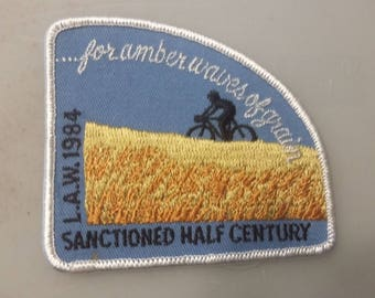 For Amber Waves of Grain Sanctioned Half Century L.A.W 1984 Bicycle Tour Vintage Embroidered Sew On Patch