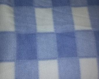 Blue Checked Fleece Fabric