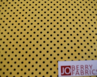 Yellow With Black Polka Dots from the Follow the Sun Collection by Lisa Audit for Wilmington Prints. Quilt or Craft Fabric, Fabric by the Yd